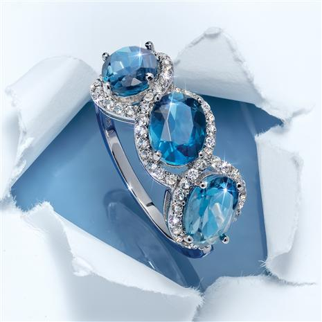 3-Stone London Blue Topaz Ring
