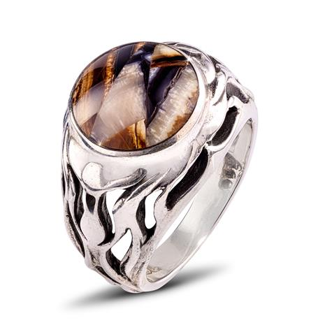Men's Sterling Silver Fossilized Mammoth Bone Ring