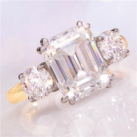 14K Yellow Gold Emerald-cut Moissanite Ring  (4 ctw)