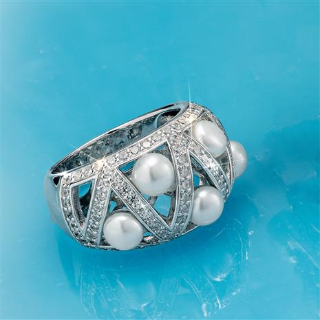 Rhodium Finished Lattice Cultured Pearl Ring