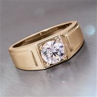 Yellow Gold-finished Sterling Silver Moissanite Starman Ring