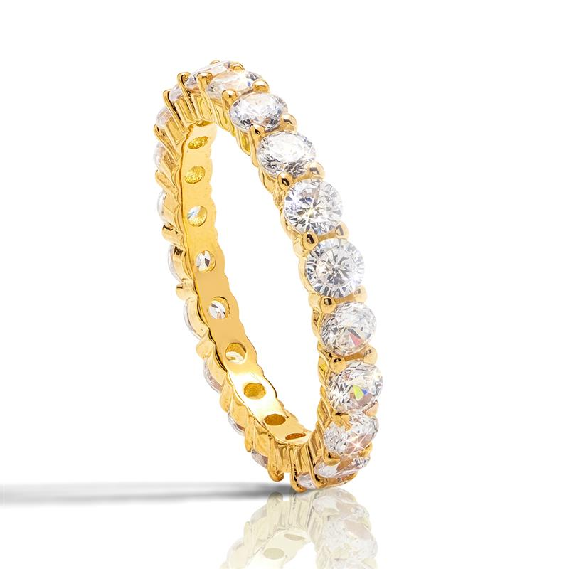Yellow Gold-Finished Sterling Silver Eternity Ring