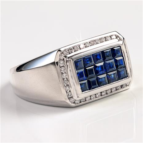 14K White Gold Men's Invisible Set Sapphire Ring (1.83 ctw)