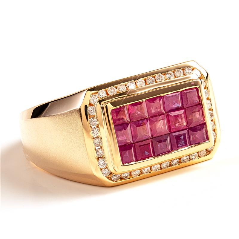 14K Yellow Gold Men's Invisible Set Ruby Ring (2.16 ctw)