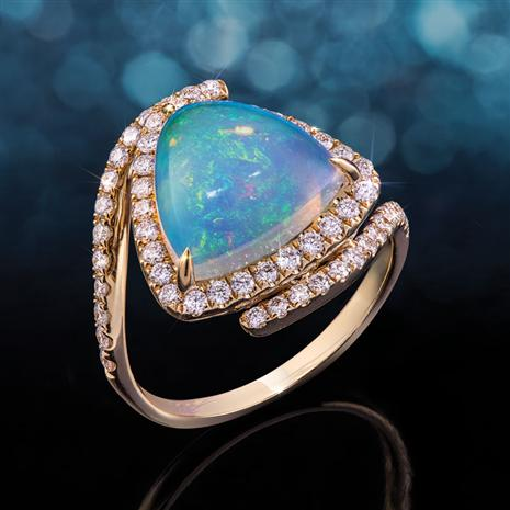 14K Gold Trillion Opal & Diamond Ring (2.90 ctw)