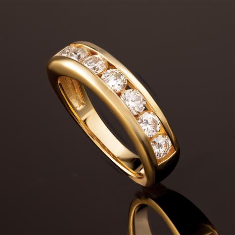 Yellow-Gold Finished Sterling Silver Moissanite Channel Ring