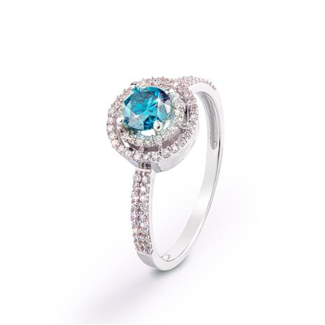 Blue Diamond Double Halo Ring (.80 ctw)