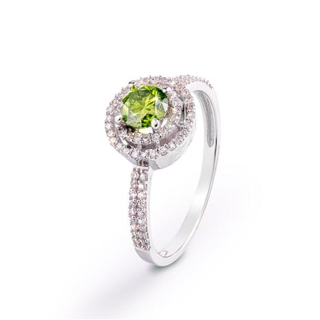 Green Diamond Double Halo Ring (.80 ctw)