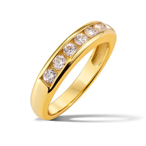 Yellow-Gold Finished Moissanite Channel Set Ring (1/2 ctw)