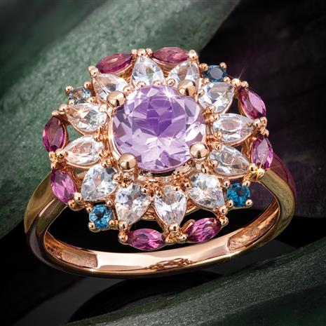 14K Rose Gold Rose de France Amethyst, Blue Topaz and Plum Garnet Ring