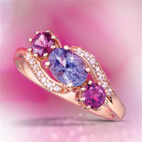Tanzanite & Rhodolite Garnet Colorburst Ring