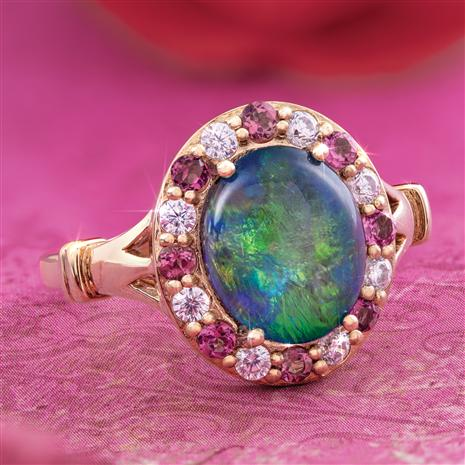 Rainbows & Roses Opal Triplet Ring
