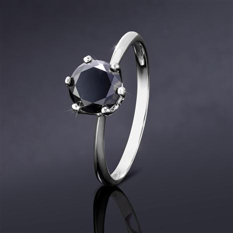 Noire Black Diamond Solitaire Ring (Sterling Silver)