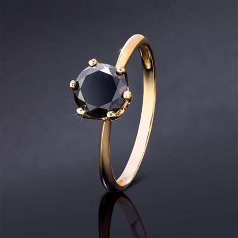 Noire Black Diamond Solitaire Ring (Yellow Gold-finished Sterling Silver)