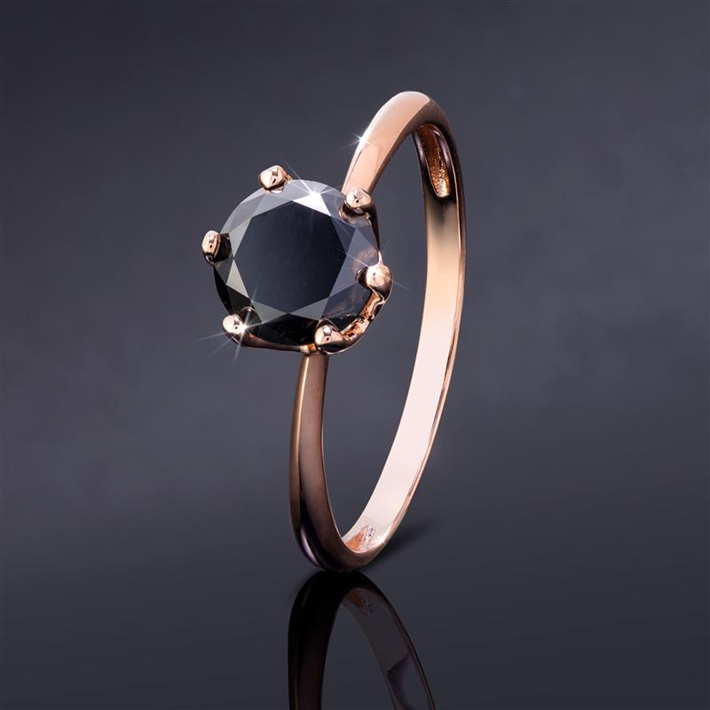 Noire Black Diamond Solitaire Ring (Rose Gold-Finished Sterling Silver)