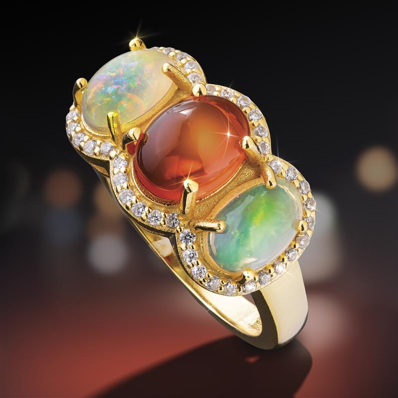 Rainbows on Fire Opal Ring