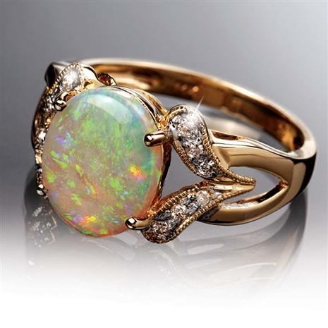 14K Gold Opal & Diamond Ring