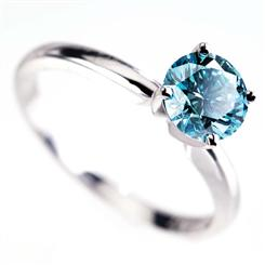 18k White Gold Stauer Blue Diamond Ring