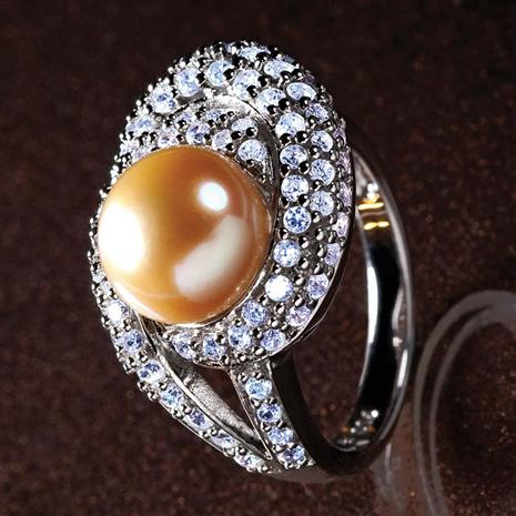 Golden Cultured Pearl & Diamond<em>Aura</em>&reg; Ring