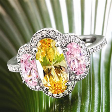 Canary & Pink Diamond<em>Aura</em>&reg; Ring