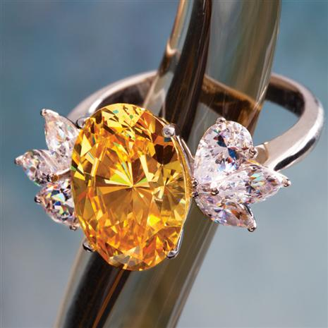 Amary Platinum-finished DiamondAura Canary Ring