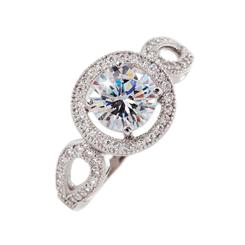 DiamondAura® Ice White Tri Halo Ring