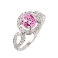 DiamondAura® Blush Pink Tri Halo Ring