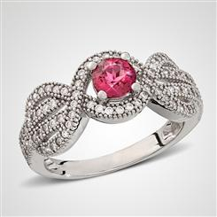 10K White Gold Pink Tourmaline & DiamondAura Infinity Ring