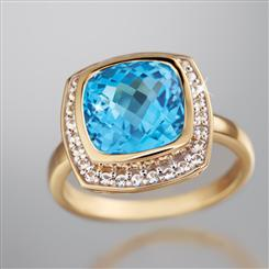 10K Yellow Gold Swiss Blue Topaz Ring