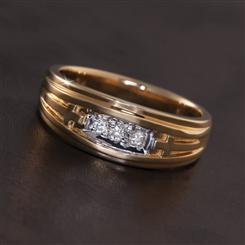 14K Gold Status Mens Diamond Ring