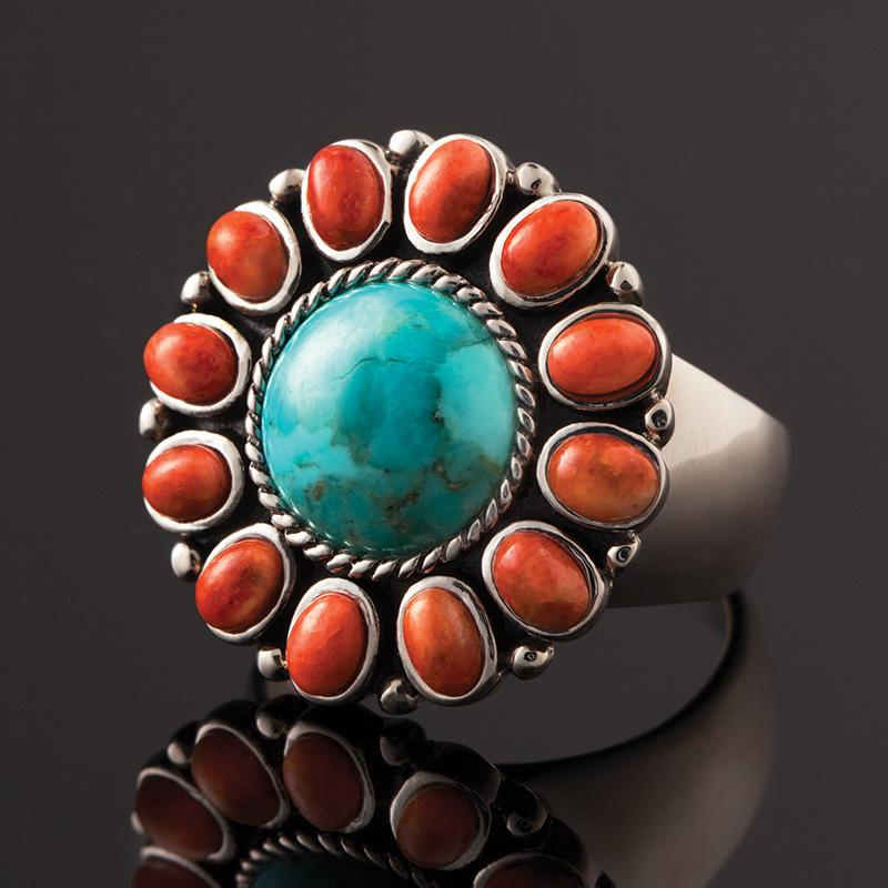 Turquoise & Coral Oasis Ring