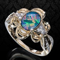 10K Yellow Gold Water Lily Opal Doublette Ring