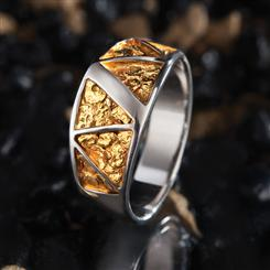 Stauer Gold Nugget Mens Ring