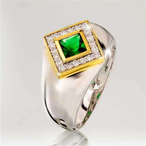 Men's Helenite & Diamond Ring (Green)
