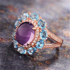 Amethyst & Blue Topaz Happiness Ring