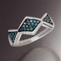 Double Blue Diamond Ring