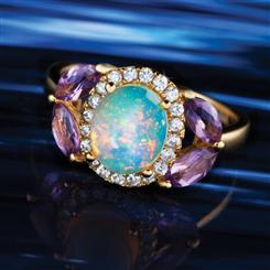 Opal & Amethyst Goddess Ring