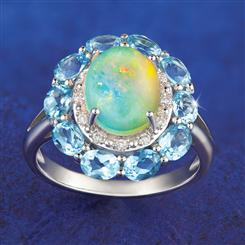 Moon River Opal & Blue Topaz Ring