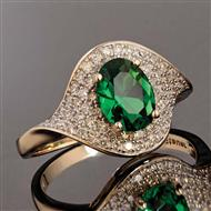 10K Yellow Gold Green Helenite and Diamond Ring (1.6ctw)