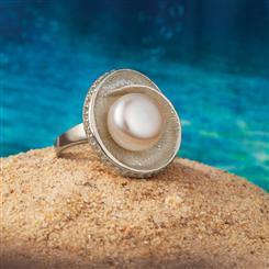 Nautilus Shell Pearl Ring