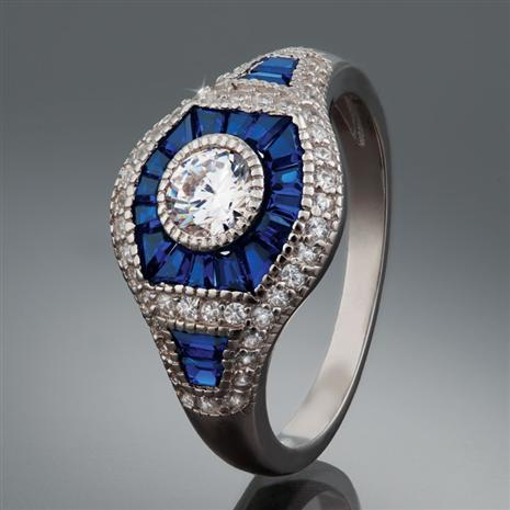 Art Deco Blue Spinel Ring