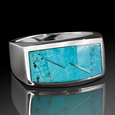 Sterling Silver Men's Kingman Arizona Turquoise Ring