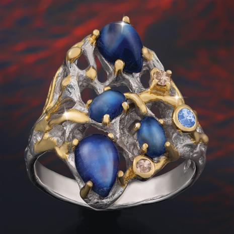 East of Eden Artisan Moon Stone and Sapphire Ring