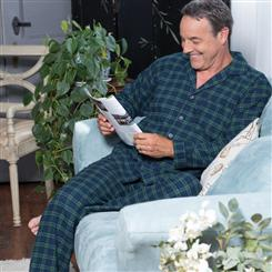 Mens Flannel Pajamas (Green Plaid)