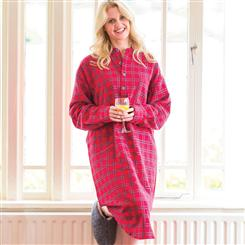 Womens Flannel Night Gown (Red Plaid)