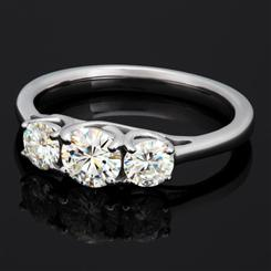 ULTRANOVA Moissanite Collection 3-Stone Ring (1 CTW, White Gold)