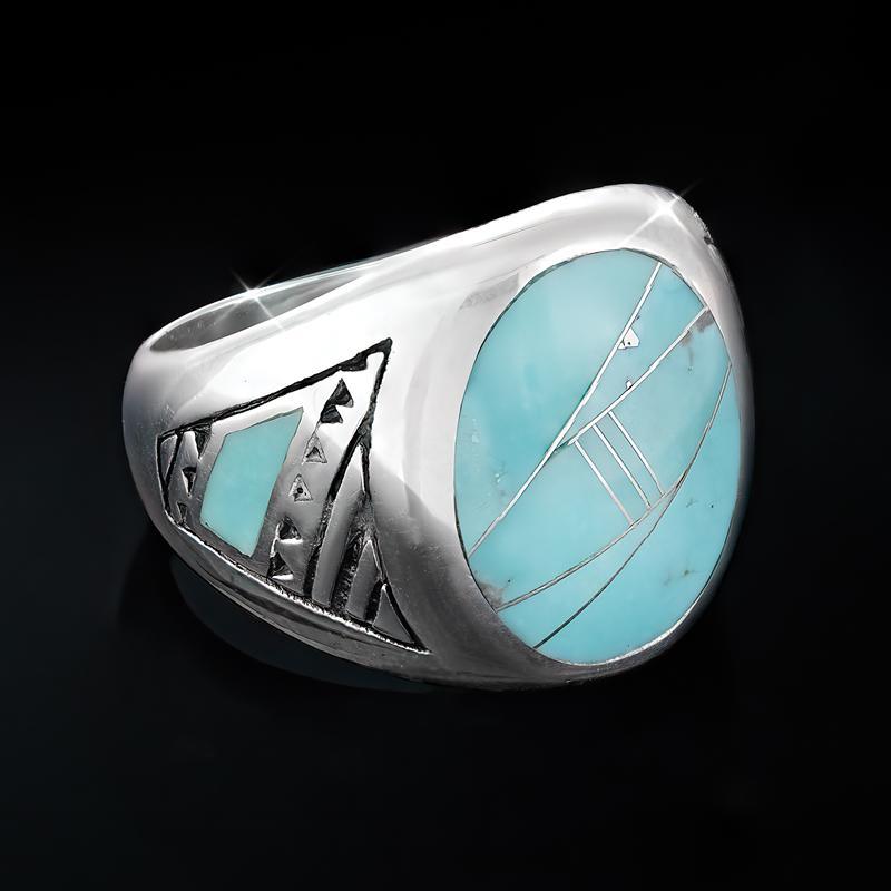 Sterling Silver Men's Campitos Turquoise Ring