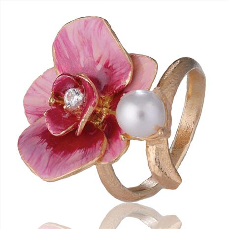 Sardinia Orchids & Pearls Ring