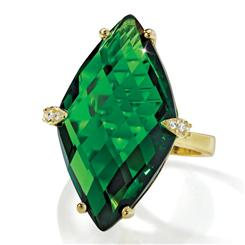14K YG Green Goddess Helenite Ring