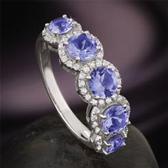 Tanzanite Five Stone Anniversary Ring